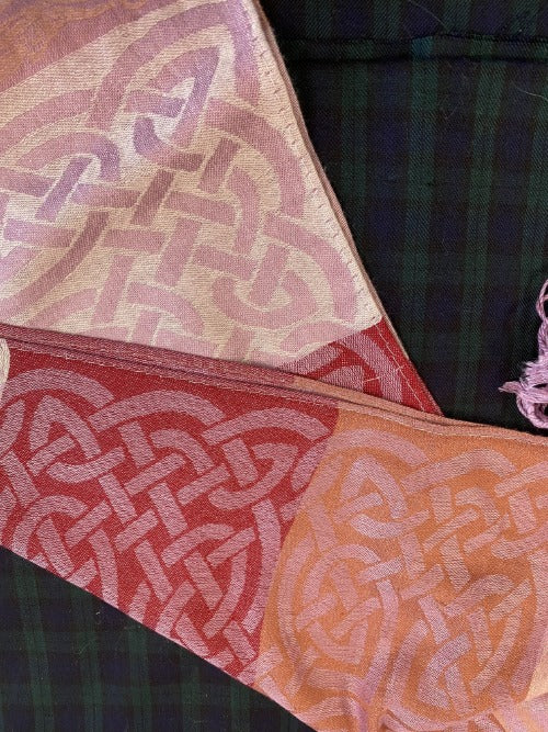 Cathaigh pashmina scarf with shades of pink and continuous eternity knots.