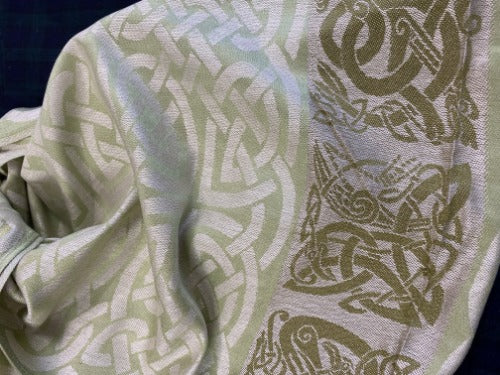 Dalkey light green pashmina. Scottish Treasures Celtic Corner