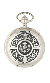 Celtic Panel Pewter & Brass Flask