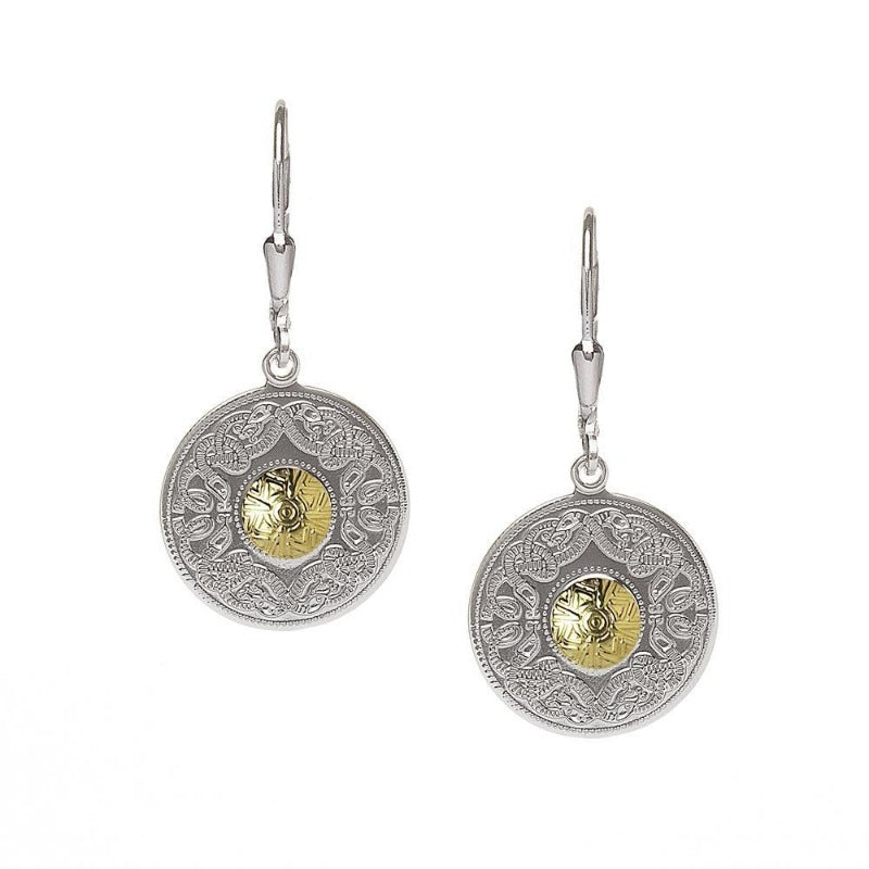Celtic Warrior earrings in sterling silver with 18K gold bead in the center.  Scottish Treasures Celtic Corner