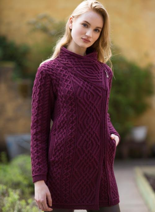 wine colored aran sweater coat with side zip