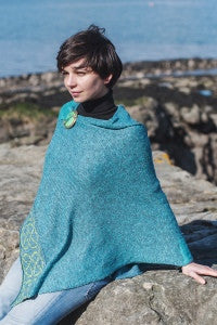 ocean blue colored celtic knot poncho