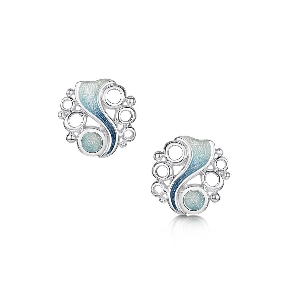 Artic Stream earrings in enamel and sterling silver