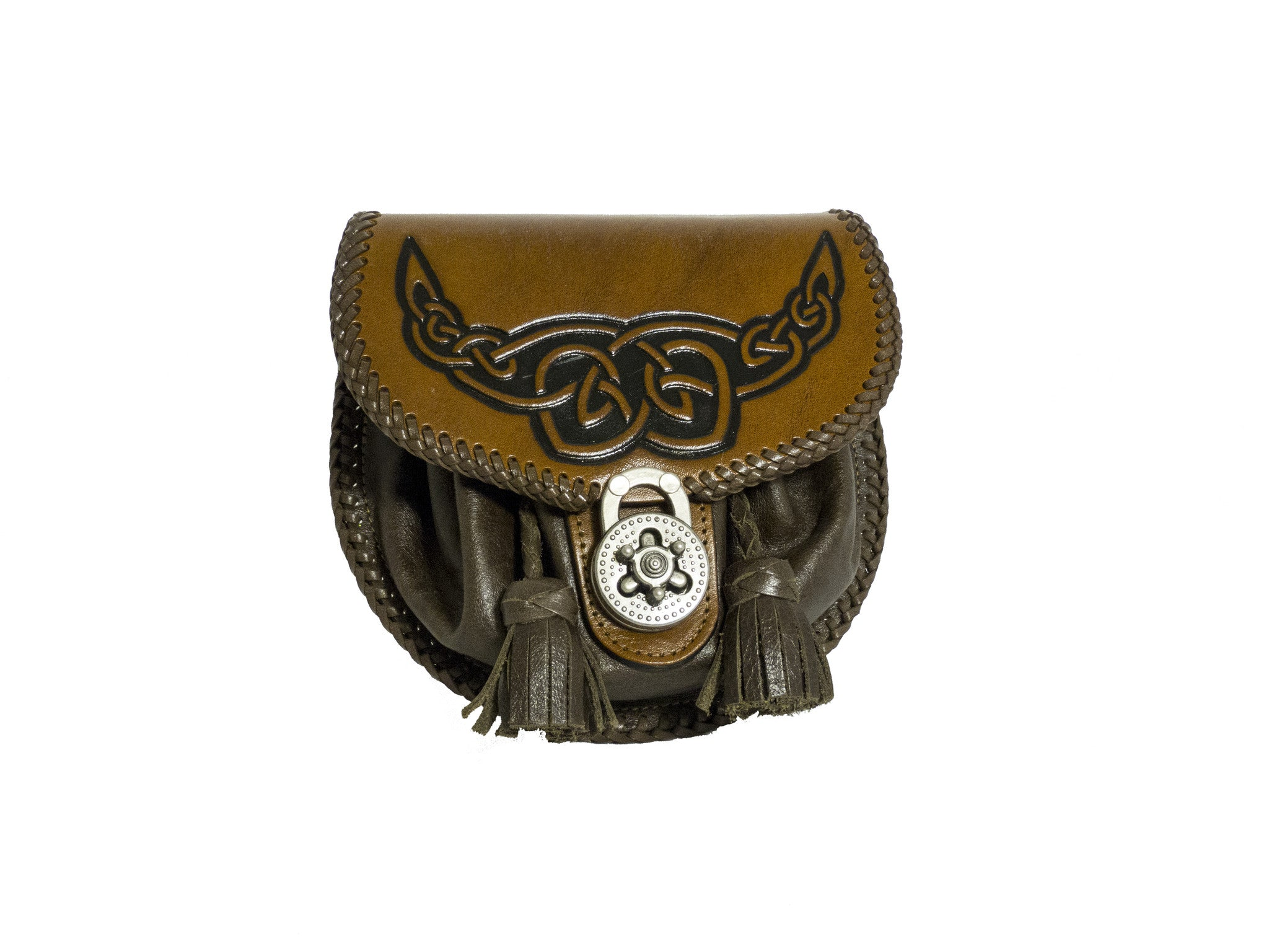 hand tooled sporran with embossed celtic knots.  Available in black or brown leather