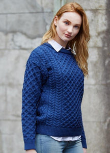 aran crew neck sweater in denim