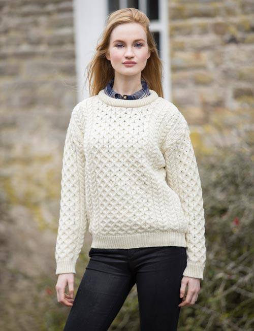 aran crewneck sweater in natural color