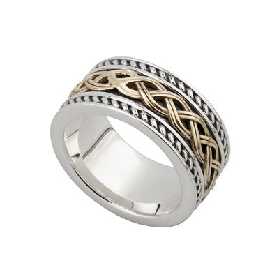 Sterling silver and 10K wide band with celtic knots made in Ireland.  Scottish Treasures Celtic Corner