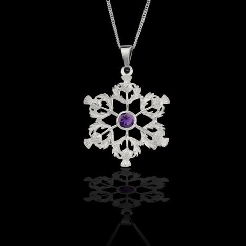 Scottish Thistle Pendant (purple stone)