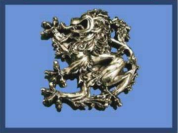 Baroque Lion Plaid Brooch, Pewter
