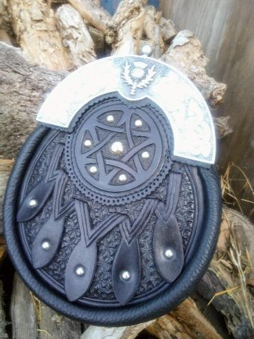 Hand tooled  saddle leather with star of david and pewter cantle