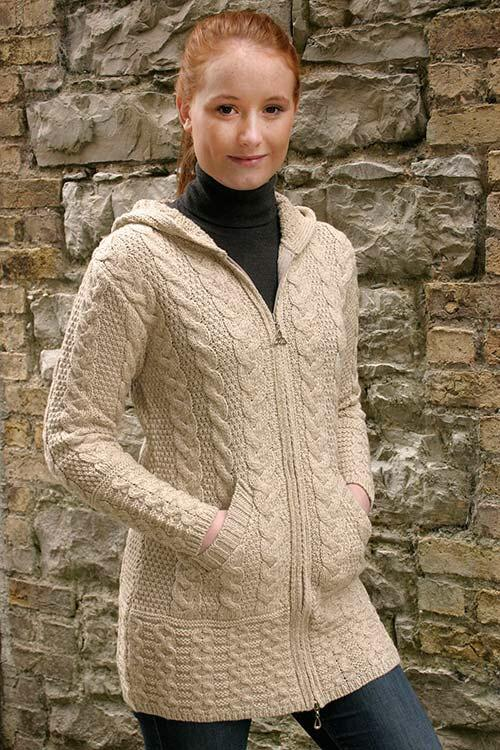Aran Long Zipper Sweater with Hood - Celtic Corner / Scottish Treasures