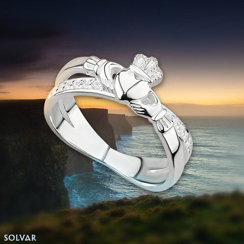 Emerald Cut Diamond Eternity Knot Engagement Ring