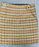 Box Pleat kilt pleated to the red stripe.