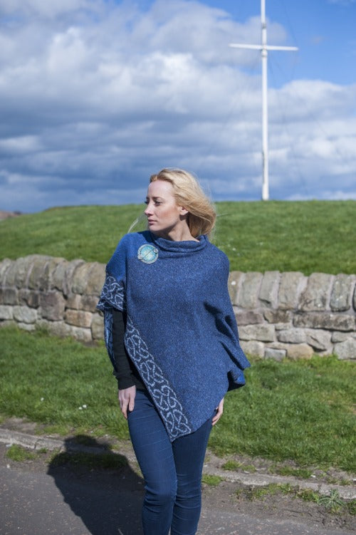 Denim color celtic knot poncho