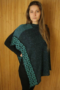 jewel colored ballatar poncho with celtic knots