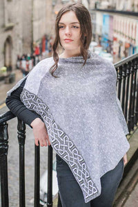 Mist Ballatar shawl/poncho woven with silk, linen and cotton yarns.  Made in Scotland