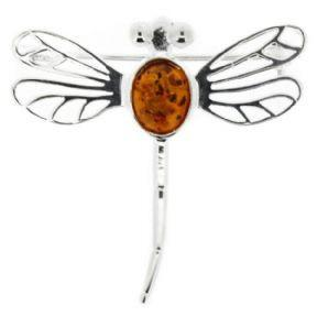 Outlander Inspired Dragonfly Amber Brooch