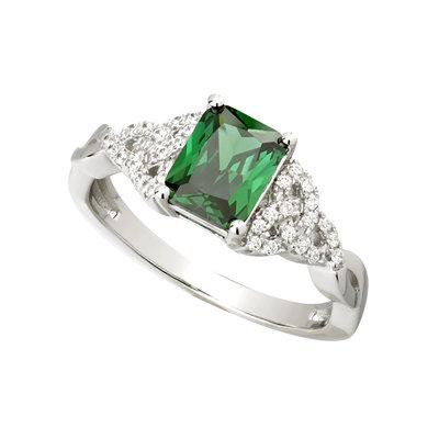 Green Emerald Trinity Knot Ring with CZ - Celtic Corner / Scottish Treasures