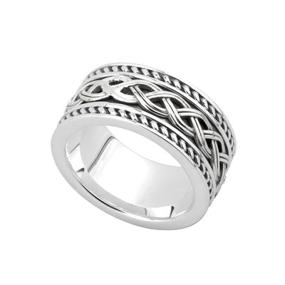 Sterling silver wide heavy band designed with celtic knots.  Made in Ireland.  Scottish Treasures Celtic Corner