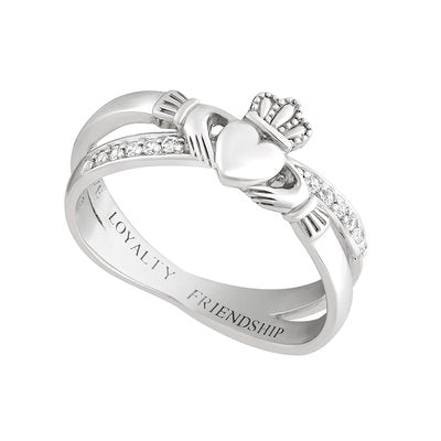 Claddagh crossover kiss ring made in Ireland and set in sterling silver with cz stones.  Scottish Treasures Celtic Corner