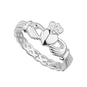 Claddagh Sterling Silver Ring with Eternity Band - Celtic Corner / Scottish Treasures