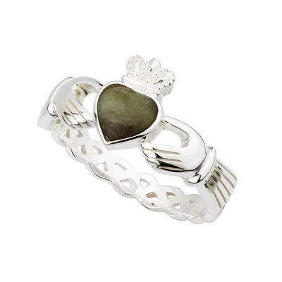 Connemara Marble Claddagh Sterling Silver