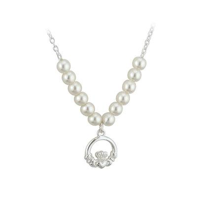 Rhodium Plated Claddagh Pearl Necklet (kids) - Celtic Corner / Scottish Treasures