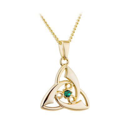 Gold plated trinity knot pendant with center crystal stone in green.  Made in Ireland.  Scottish Treasures Celtic Corner
