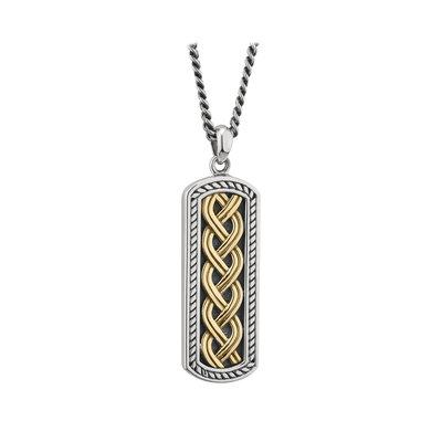 Gent's Silver and Two-Tone Celtic Ingot Pendant