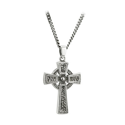 Sterling Silver oxidised celtic cross, large, with belcher chain.  Celtic Corner Scottish Treasures