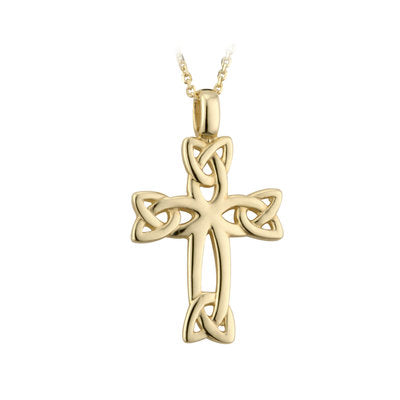 14K gold celtic cross with trinity knots