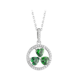 Sterling silver shamrock pendant with green and clear crystal cz stones.  Made in Ireland.  18 inch chain.  Scottish Treasures Celtic corner