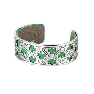Rhodium and Leather Shamrock Cuff Bangle - Celtic Corner / Scottish Treasures