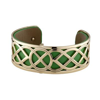 Rhodium and Gold Plated Leather Celtic Eternity Knot Cuff Bangle - Celtic Corner / Scottish Treasures