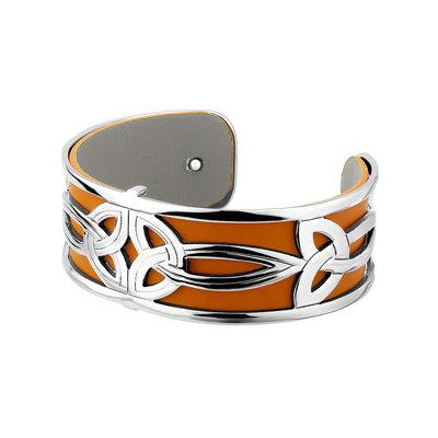 Rhodium and Gold Plated Leather Trinity Knot Cuff Bangle - Celtic Corner / Scottish Treasures
