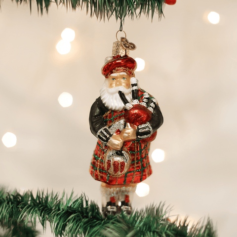 Scottish Bagpiping Santa Hanging Ornament