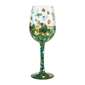 Lolita wine glass adorned with shamrocks in green, gold and white.  Comes boxed in keepsake container.  Scottish Treasures Celtic Corner