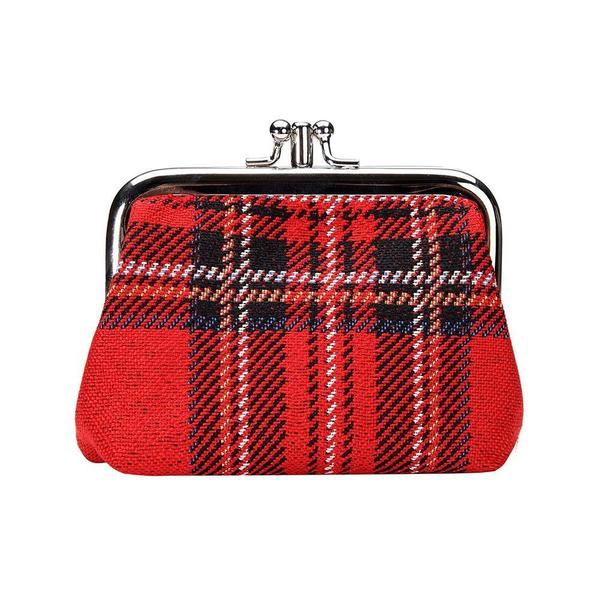 Royal Stewart tartan coin purse done in tapestry fabric with two separate pockets.  Scottish Treasures Celtic Corner