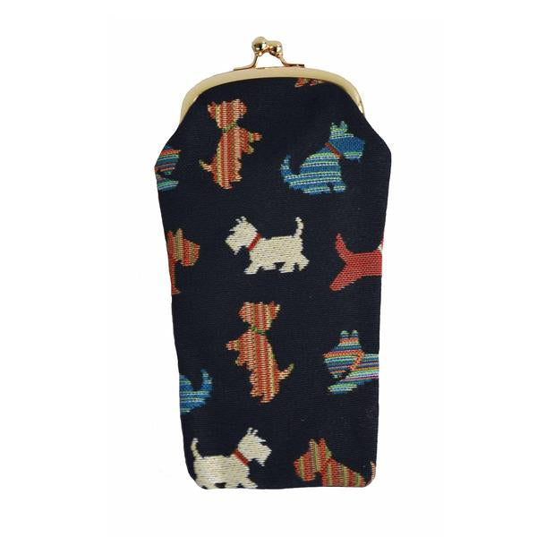 Whimsical Scottie Dogs adorn this tapestry eye glass case.  Scottish Treasures Celtic Corner
