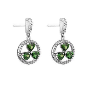 Sterling silver shamrock earrings with green and clear crystal cz stones.  Made in Ireland.  18 inch chain.  Scottish Treasures Celtic corner