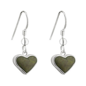 Sterling Silver heart earring with connemara marble center.  Made in Irleland