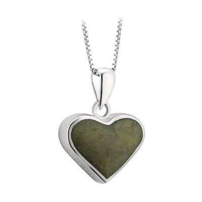 Sterling Silver heart pendant with connemara marble center.  Made in Ireland