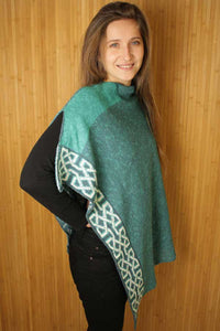 spearmint colored ballatar poncho with celtic knots
