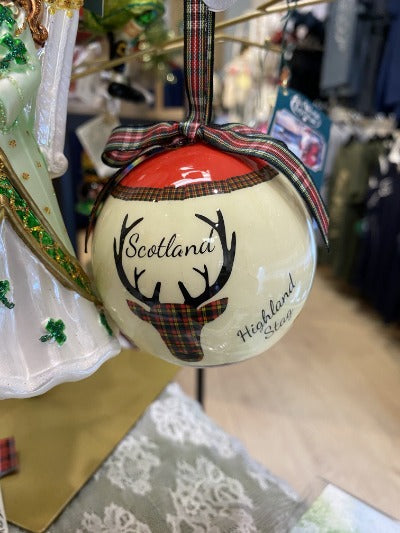 Highland stag on Christmas bobble ornament