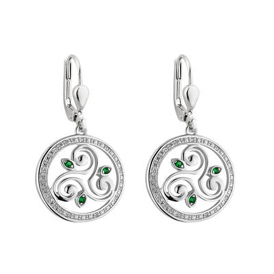 spiral triskele drop earrings with cz and green stones