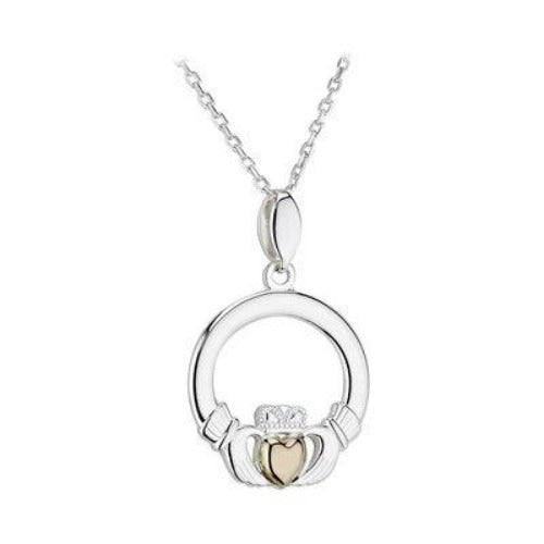 Sterling silver claddagh with 10k gold centered heart.  18 inch chain.  Made in Ireland.  Scottish Treasures Celtic Corner