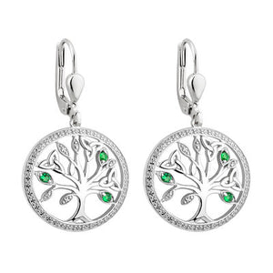 Sterling silver tree of life earrings with green stone accents