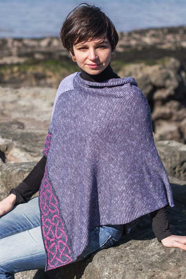 Celtic poncho in shades of soft purple with knotwork.  Cotton Linen yarns all woven and made in Scotland .  Scottish Treasures Celtic Corner
