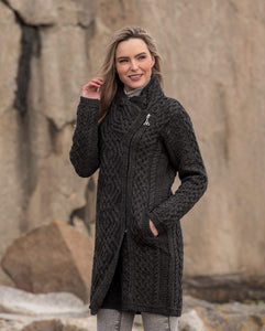 charcoal colored aran sweater coat with side zip