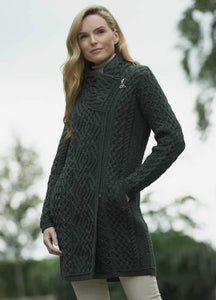dark army green colored aran sweater coat with side zip